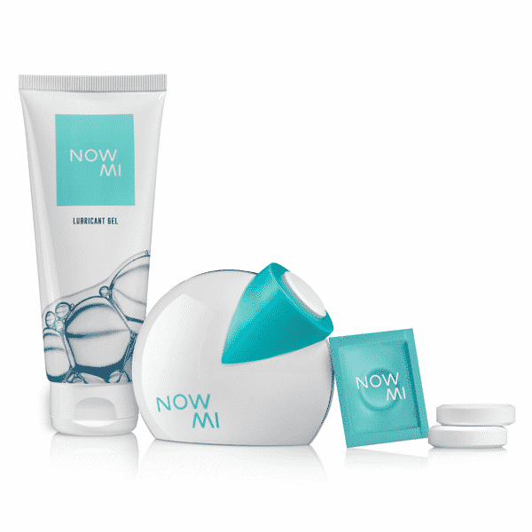 The NowMi kit- applicator, gel and tablets